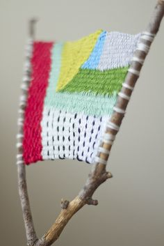branch weaving by childerhouse, via Flickr...how fun would this be w/ yarn on a rainy camping trip.