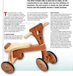Wooden Tricycle Plans - Children's Outdoor Plans Wooden Toy Plans