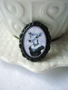 Small Victorian Style Deer Brooch - Black and White Cameo - Woodland Animal. $16.00, via Etsy.