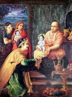 Eager to hear from Garga Muni,Nanda Maharaja arranged for a secret name-giving ceremony in his cowshed. Garga Muni informed Nanda Maharaja that the son of Rohini would be very pleasing to His family members,He would be called Rama (Balarama). In the future He would also be extraordinarily strong &therefore would be called Baladeva.GargaMuni informed Nanda that his son would be known as Vasudeva & Krishna.He said that the child would have power, beauty, & opulence, all on the level of…