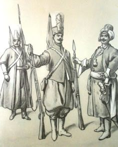 Epoka stanisławowska: Janczarzy 1770-75. Rys. B. Gembarzewski.