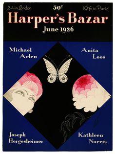 Harper's Bazaar Magazine cover June 1926 by Erte Erte Art, English Magazine, Art Deco Illustration, Illustrations, 23 November, Vogue Covers, Vintage Magazines, French Artists, Harpers Bazaar