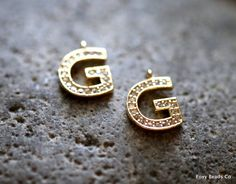 Letter G - Unique Initial Alphabet Letters, 24k Gold Plated with Zirconia - INTG-G by FoxyBeadsCo on Etsy