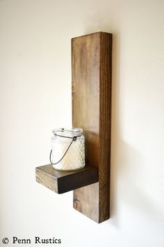 Everyday Rustic Wood Sconce Set by PennRustics on Etsy