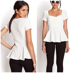Forever 21 white peplum top Adorable white top thats perfect with any outfit, jeans or skirts. Barely worn. Stretchy. Padded. Offers welcome through offer tab. No trades. Forever 21 Tops