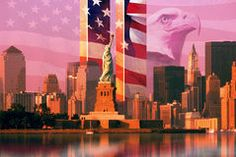 Photo montage: American flag and eagle, World Trade Center, Statue of Liberty…