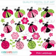 Pink Ladybugs Clip Art / Digital Clipart - Instant Download