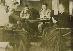 Minna Canth playing cards at her home, Kanttila in Kuopio. Left to right: Hanna Levander, Alma Tervo, Maiju Canth and Minna. Playwright, The Originals, Playing Cards, Painting, Hat, Inspiration, Chip Hat, Biblical Inspiration, Playing Card Games
