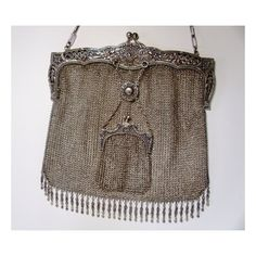Vintage Silver evening purse with money pouch Extremely Rare late... ($550) ❤ liked on Polyvore
