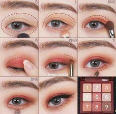 Korean Makeup Look, Asian Eye Makeup, Makeup Eye Looks, Eye Makeup Brushes, Eyeshadow Makeup, Korean Eyeshadow, Ullzang Makeup, Makeup Shayla, Eyeshadow Palette