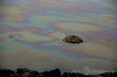中国・山東(Shandong)省青島(Qingdao)の膠州湾(Jiaozhou Bay)へ流れる川に浮かぶ油膜。2013年11月23日に起きた石油パイプラインの爆発により、同市内に黒い煙が立ちこめたほか、爆発の衝撃で道路が割れる、付近の車が横転するなどの被害が発生した(2013年11月23日撮影)。(c)AFP ▼30Mar2014AFP|【特集】世界各地の水質汚染 http://www.afpbb.com/articles/-/3011088 #Water_pollution #Qingdao #Oil_slick #Oil_film