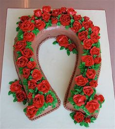 Kentucky Derby cake!  BEEN THINKING ABOUT THIS----BUT WILL DO RICE KRISPIES HORSESHOES DIPPED IN CHOCOLATE FOR FULLER B