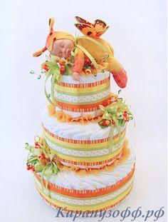 """Торт из памперсов """"Оранжевые сны"""""""