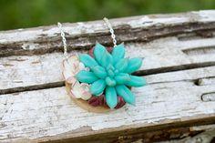 Check out White Blue Purple Succulent Pendant Wooden Basis Medallion Succulent Necklace Wedding Bridal Birthday Gifts on eteniren