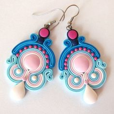 Artist-: Magdalena Pastel Oriental earrings  Earrings made from polymer clay Fimo and high-quality steel hangers. The size of earrings without earwires is approximately 5.5 cm, with biglami approx. 7.5 cm. Earrings are lightweight and very solidly done. See my entire gallery in Kuferart