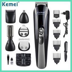 Kemei600 6 in 1 Hair Trimmer Titanium Hair Clipper Electric Shaver Beard Trimmer Men Styling Tools Shaving Machine 100-240v