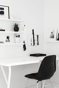 White shelves + picture ledge | @styleminimalism