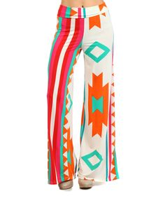 Look at this #zulilyfind! Orange & Mint Tribal Stripe Palazzo Pants - Women by Pretty Young Thing #zulilyfinds