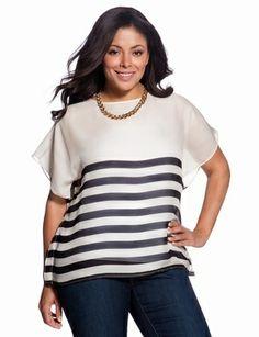 Sheer Stripe Caftan, plus size style
