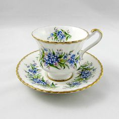 Paragon Tea Cup and Saucer with Blue Flowers Forget-me-nots
