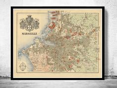 Old Map of Marseille with gravures, City Plan France 1840 Vintage - product image