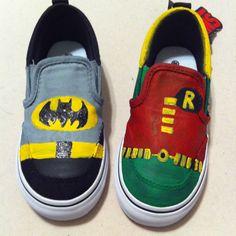 Custom painted little boy Batman and Robin  www.facebook.com/TaintedToms