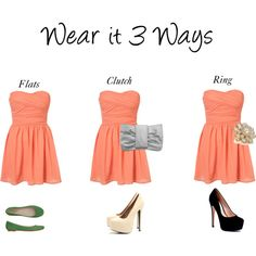 Wear it 3 Ways (peach dress), created by kate-taylor-1 on Polyvore