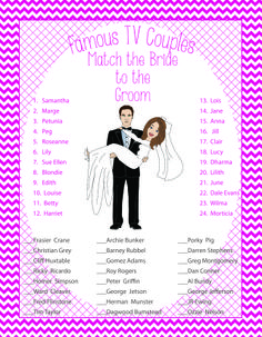Fun Bridal Shower Game about famous couples