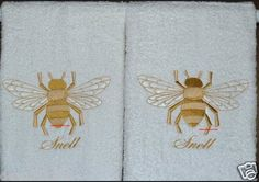 Napoleonic Bee - 2 EMBROIDERED HAND TOWELS by Susan