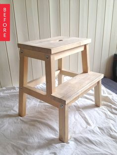 I have this stool - and I'm doing this. So much cuter. Before & After: Well-Loved IKEA Stool Gets a Fresh Look Ikea Bekvam, Ikea Stool, Painted Stools, Bedroom Seating, Industrial Chair, Idee Diy, Scandi Style, New Beds, Oversized Chair