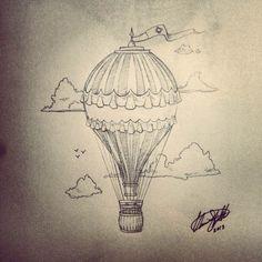 Hot Air Balloon Tattoo Tumblr | tattoo design to accompany the last one. This time a hot air balloon ...