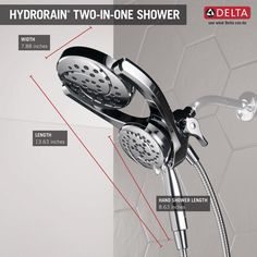 Delta HydroRain Two-in-One 4-Spray Patterns 6 in. Wall Mount Dual Shower Heads with MagnaTite in Chrome-75699 - The Home Depot