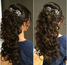 Chic and Sophisticated Chignon - 50 Ravishing Mother of the Bride Hairstyles - The Trending Hairstyle Curly Wedding Hair, Wedding Hair Down, Wedding Hairstyles For Long Hair, Wedding Hair And Makeup, Bride Hairstyles, Pretty Hairstyles, Bridal Hair, Prom Hair, Quince Hairstyles