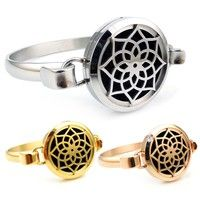 Round Silver, Gold and Rose Gold Lotus (25-30mm) with Circle Band Aromatherapy / Essential Oils Diffuser Locket Bracelet Jewelry