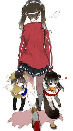 akagi   anime   anime girl   chibi   illustration   kaga   kancolle   kantai collection   kawaii   kemonomimi   ryuujou