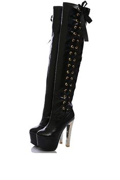 Black+Side+Lace+Up+Platform+Thigh+High+Boots+#Black+#Boots+#maykool