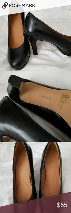 Clark's shoes Brand New, leather black shoes they are perfect for work.  Don't have the box. Clarks Shoes Heels