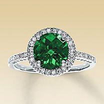 10K White Gold Diamond & Lab-Created Emerald Ring  My new ring