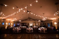 Champagne amber uplighting, pin spotting of the centerpieces, and Italian string lighting over the dance floor for a wedding at the Holly Hedge Estate in New Hope, Pennsylvania. Photo by Cliff Mautner Photography. Lighting, entertainment, and photo booth by Synergetic Sound + Lighting. www.synergeticsounds.com
