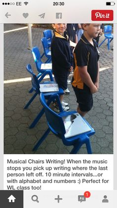 Musical Chairs Writing: When the music stops you pick up writing where the last person left off. Different spin on a creative writing assignment. The link is for Musical Chairs Reading. Writing Lessons, Teaching Writing, Teaching Tools, Teaching Ideas, Writing Strategies, Essay Writing, Writing Ideas, Writing Prompts, 3rd Grade Writing