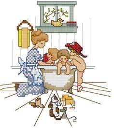 0 point de croix femme donnant le bain à des enfants- cross stitch woman bathing children