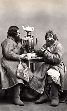 """Vintage Russian men drinking tea or coffee    LOL--not the image that usually comes to my mind at the word """"tea"""""""