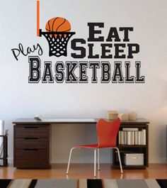 Basketball Wall Decal, Basketball Nursery Decal, Basketball Boy Wall Decal, Basketball Girl Wall Decal, Eat Sleep Play - Basketball Wall Decal Decal for Boy Baby Nursery by SignJunkies Basketball Nursery, Basketball Room Decor, Basketball Wall, Basketball Decorations, Basketball Quotes, Basketball Themed Rooms, Basketball Rooms For Boys, Basketball Couples, Basketball Cupcakes
