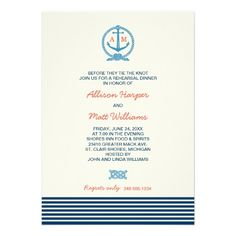 Wedding Rehearsal Dinner | Navy Blue Nautical Theme Personalized Invitations with Monogram Anchor and Stripes