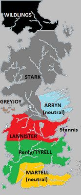 Political map of Westeros (during Season 2) showing the major families and the lands they control.
