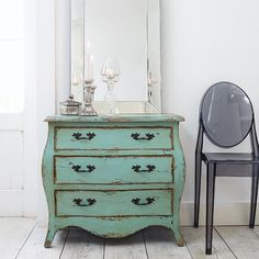 A gorgeously rustic sea green chest of drawers... you know... for all my danties :)