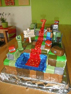 I made this MineCraft cake for our son's 7th birthday