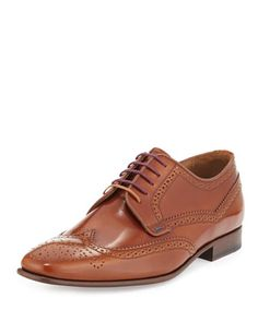 Aldrich High Shine Wing-Tip Shoe, Tan by Paul Smith at Neiman Marcus.