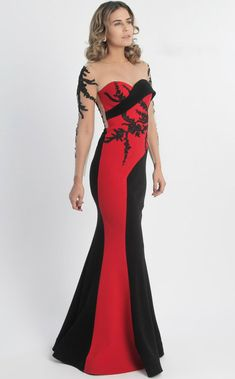 MNM Couture - Embroidered Panel Gown in Black and Stylish Dresses, Fashion Dresses, Prom Dress Couture, Beautiful Gowns, Beautiful Clothes, Formal Gowns, Buy Dress, Couture Fashion, Pretty Dresses