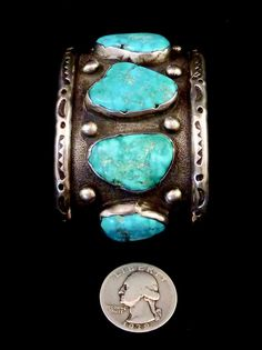 106g Vintage Navajo Sterling Silver Cuff by PoohsCornerOTheWorld http://www.thesterlingsilver.com/product/sterling-silver-royal-flush-tie-tac/